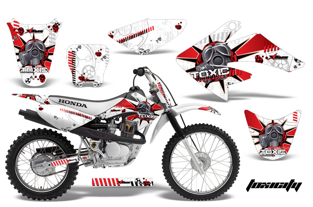 Dirt Bike Graphics Kit Decal Sticker Wrap For Honda CRF80 2004-2010 TOXIC RED WHITE-atv motorcycle utv parts accessories gear helmets jackets gloves pantsAll Terrain Depot