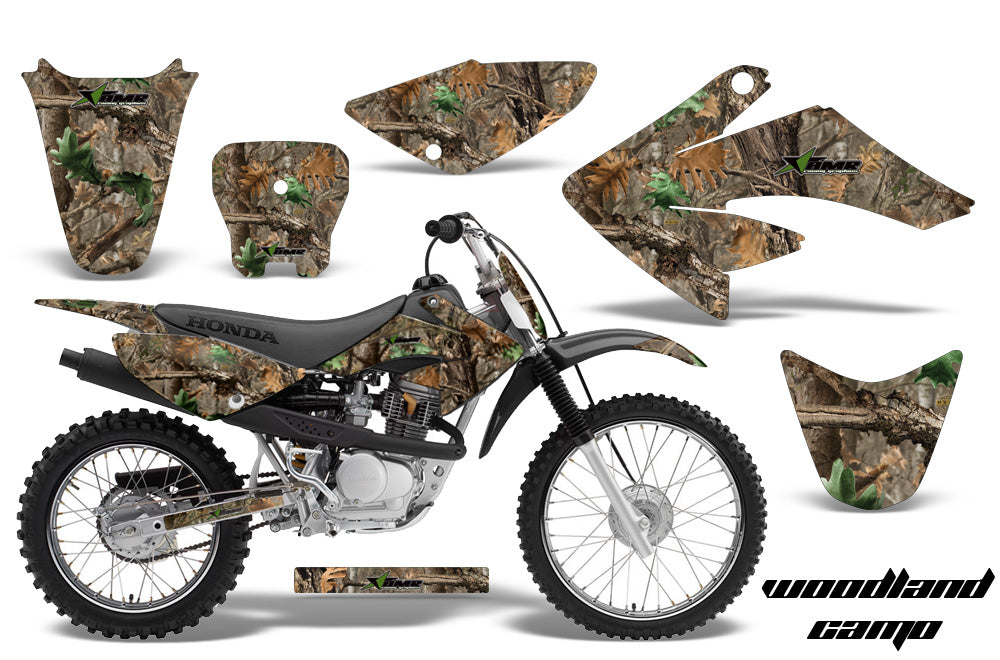 Dirt Bike Graphics Kit Decal Sticker Wrap For Honda CRF70 2004-2015 WOODLAND CAMO-atv motorcycle utv parts accessories gear helmets jackets gloves pantsAll Terrain Depot