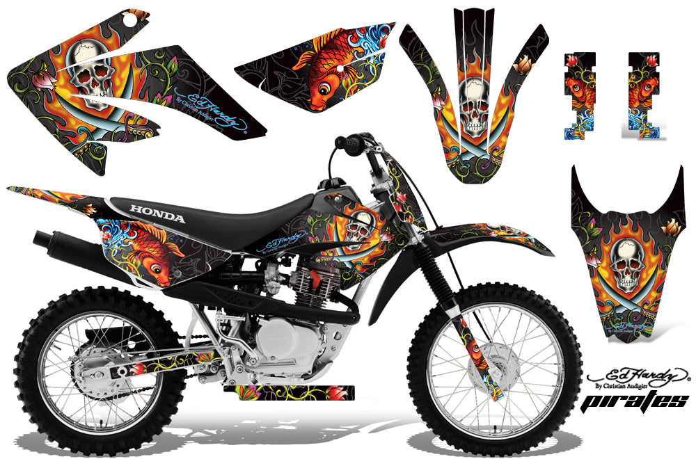 Dirt Bike Graphics Kit MX Decal Wrap For Honda CRF80 CRF100 2011-2016 EDHP BLACK-atv motorcycle utv parts accessories gear helmets jackets gloves pantsAll Terrain Depot