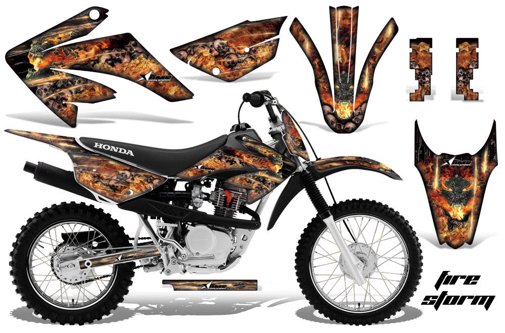 Dirt Bike Graphics Kit MX Decal Wrap For Honda CRF80 CRF100 2011-2016 FIRESTORM BLACK-atv motorcycle utv parts accessories gear helmets jackets gloves pantsAll Terrain Depot