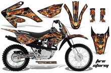 Load image into Gallery viewer, Dirt Bike Graphics Kit MX Decal Wrap For Honda CRF80 CRF100 2011-2016 FIRESTORM BLACK-atv motorcycle utv parts accessories gear helmets jackets gloves pantsAll Terrain Depot