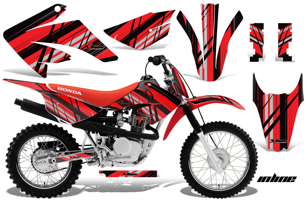 Dirt Bike Graphics Kit MX Decal Wrap For Honda CRF80 CRF100 2011-2016 INLINE RED BLACK-atv motorcycle utv parts accessories gear helmets jackets gloves pantsAll Terrain Depot