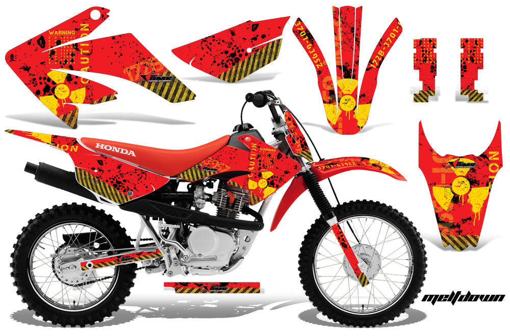 Dirt Bike Graphics Kit MX Decal Wrap For Honda CRF80 CRF100 2011-2016 MELTDOWN YELLOW RED-atv motorcycle utv parts accessories gear helmets jackets gloves pantsAll Terrain Depot