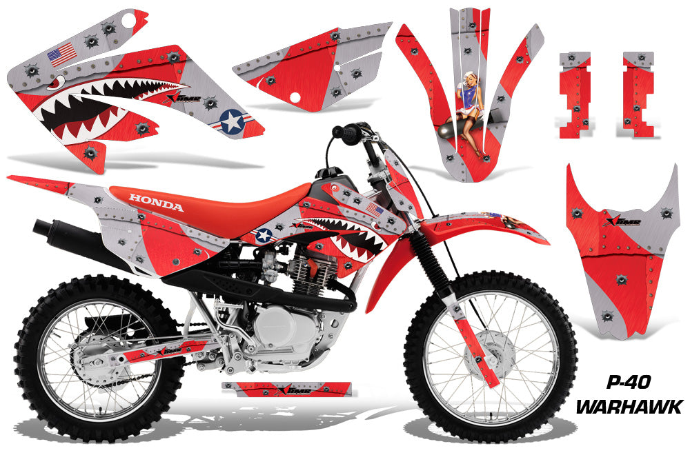 Dirt Bike Graphics Kit MX Decal Wrap For Honda CRF80 CRF100 2011-2016 WARHAWK RED-atv motorcycle utv parts accessories gear helmets jackets gloves pantsAll Terrain Depot