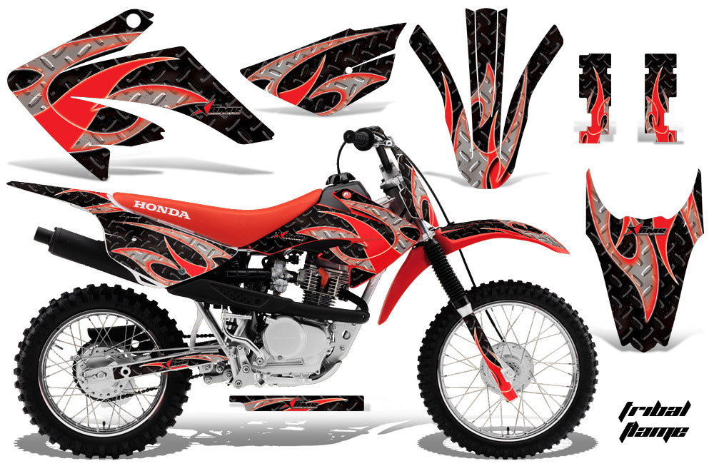 Dirt Bike Graphics Kit MX Decal Wrap For Honda CRF80 CRF100 2011-2016 TRIBAL RED BLACK-atv motorcycle utv parts accessories gear helmets jackets gloves pantsAll Terrain Depot