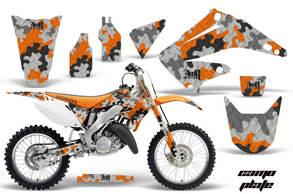 Dirt Bike Graphics Kit Decal Wrap For Honda CR125R CR250R 2002-2008 CAMOPLATE ORANGE-atv motorcycle utv parts accessories gear helmets jackets gloves pantsAll Terrain Depot