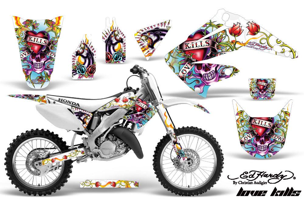 Dirt Bike Graphics Kit Decal Wrap For Honda CR125R CR250R 2002-2008 EDHLK WHITE-atv motorcycle utv parts accessories gear helmets jackets gloves pantsAll Terrain Depot