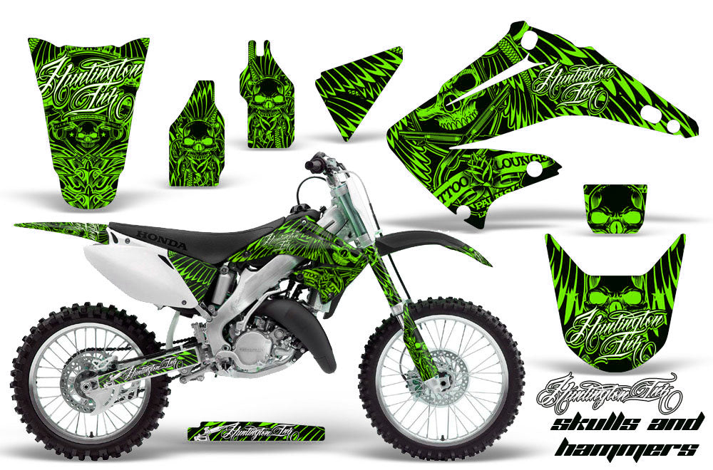 Dirt Bike Graphics Kit Decal Wrap For Honda CR125R CR250R 2002-2008 HISH GREEN-atv motorcycle utv parts accessories gear helmets jackets gloves pantsAll Terrain Depot