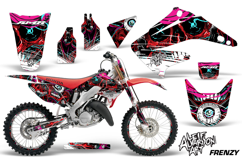 Graphics Kit Decal Wrap + # Plates For Honda CR125R CR250R 2002-2008 FRENZY RED-atv motorcycle utv parts accessories gear helmets jackets gloves pantsAll Terrain Depot