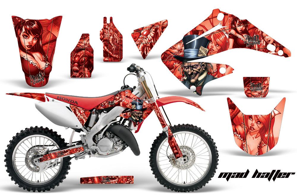 Dirt Bike Graphics Kit Decal Wrap For Honda CR125R CR250R 2002-2008 HATTER RED-atv motorcycle utv parts accessories gear helmets jackets gloves pantsAll Terrain Depot