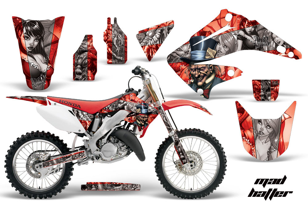 Dirt Bike Graphics Kit Decal Wrap For Honda CR125R CR250R 2002-2008 HATTER SILVER RED-atv motorcycle utv parts accessories gear helmets jackets gloves pantsAll Terrain Depot