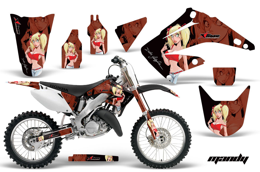 Dirt Bike Graphics Kit Decal Wrap For Honda CR125R CR250R 2002-2008 MANDY RED BLACK-atv motorcycle utv parts accessories gear helmets jackets gloves pantsAll Terrain Depot
