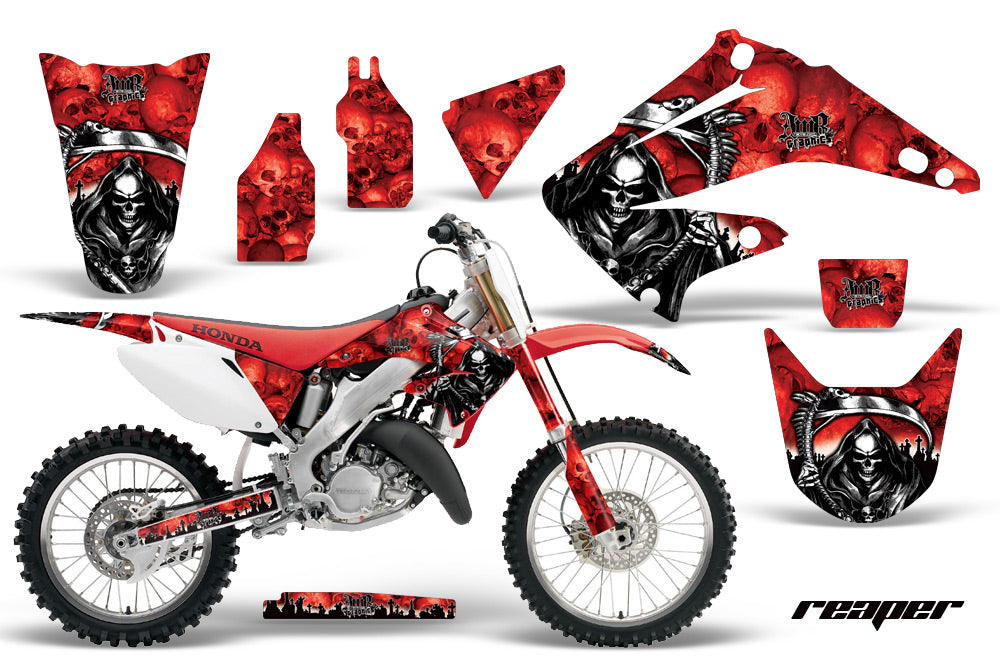 Dirt Bike Graphics Kit Decal Wrap For Honda CR125R CR250R 2002-2008 REAPER RED-atv motorcycle utv parts accessories gear helmets jackets gloves pantsAll Terrain Depot