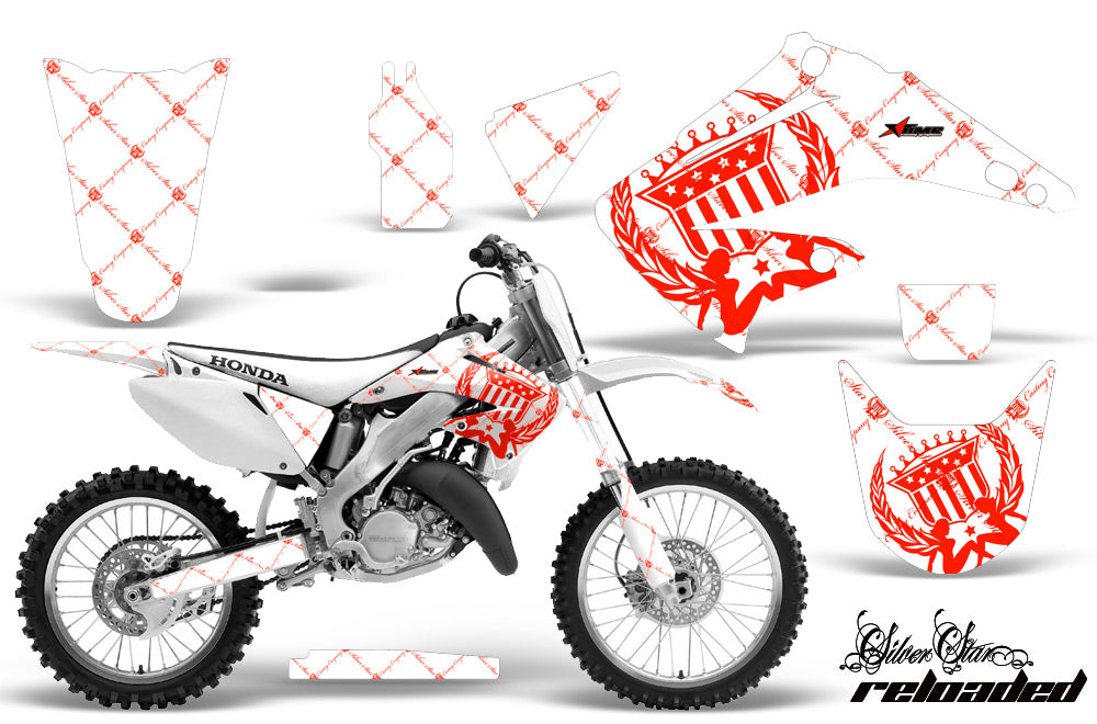 Dirt Bike Graphics Kit Decal Wrap For Honda CR125R CR250R 2002-2008 RELOADED RED WHITE-atv motorcycle utv parts accessories gear helmets jackets gloves pantsAll Terrain Depot