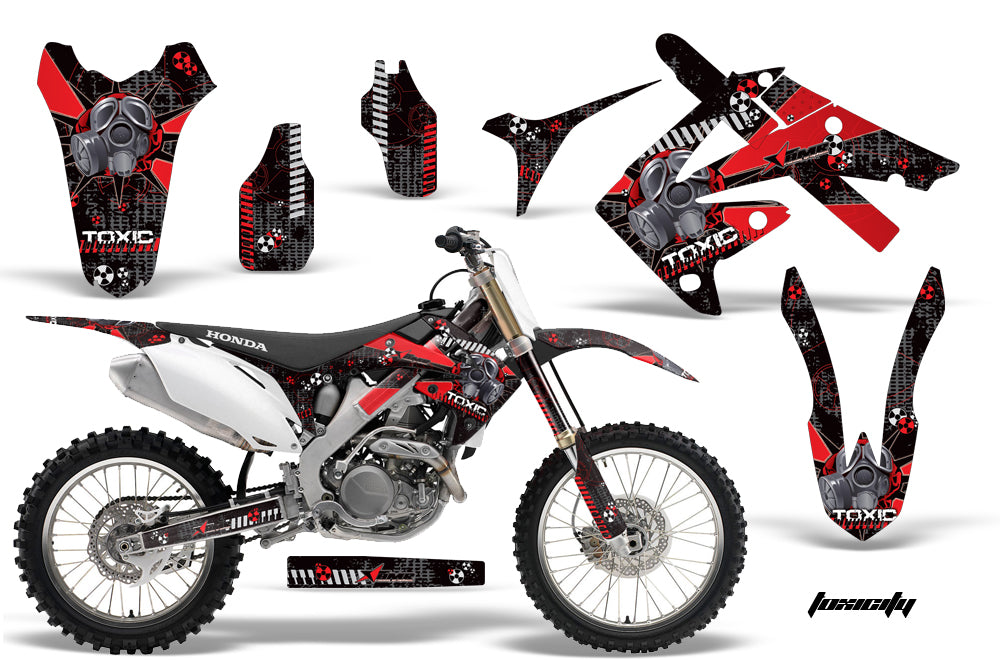 Dirt Bike Graphics Kit Decal Wrap For Honda CR125R CR250R 2002-2008 TOXIC RED BLACK-atv motorcycle utv parts accessories gear helmets jackets gloves pantsAll Terrain Depot