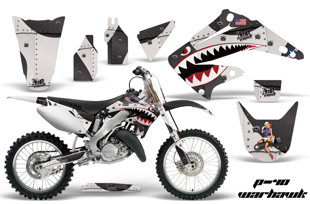 Dirt Bike Graphics Kit Decal Wrap For Honda CR125R CR250R 2002-2008 WARHAWK BLACK-atv motorcycle utv parts accessories gear helmets jackets gloves pantsAll Terrain Depot