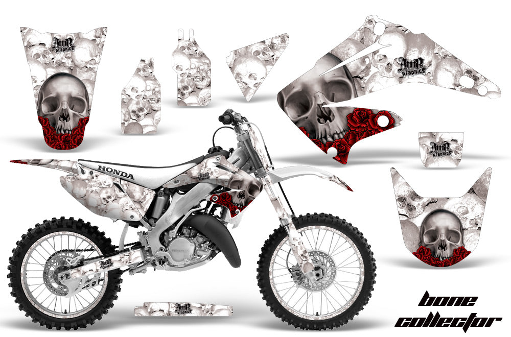 Graphics Kit Decal Wrap + # Plates For Honda CR125R CR250R 2002-2008 BONES WHITE-atv motorcycle utv parts accessories gear helmets jackets gloves pantsAll Terrain Depot
