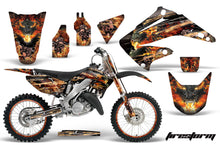 Load image into Gallery viewer, Graphics Kit Decal Wrap + # Plates For Honda CR125R CR250R 2002-2008 FIRESTORM BLACK-atv motorcycle utv parts accessories gear helmets jackets gloves pantsAll Terrain Depot