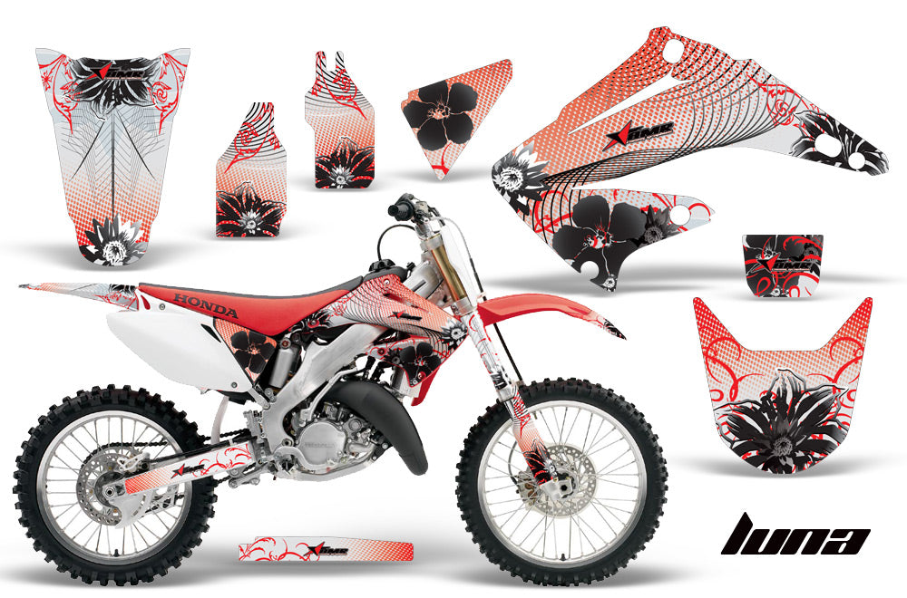 Dirt Bike Graphics Kit Decal Wrap For Honda CR125R CR250R 2002-2008 LUNA RED-atv motorcycle utv parts accessories gear helmets jackets gloves pantsAll Terrain Depot