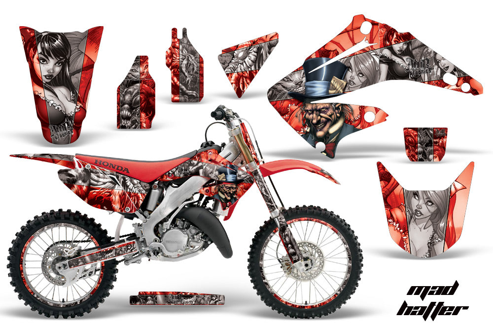 Graphics Kit Decal Wrap + # Plates For Honda CR125R CR250R 2002-2008 HATTER SILVER RED-atv motorcycle utv parts accessories gear helmets jackets gloves pantsAll Terrain Depot