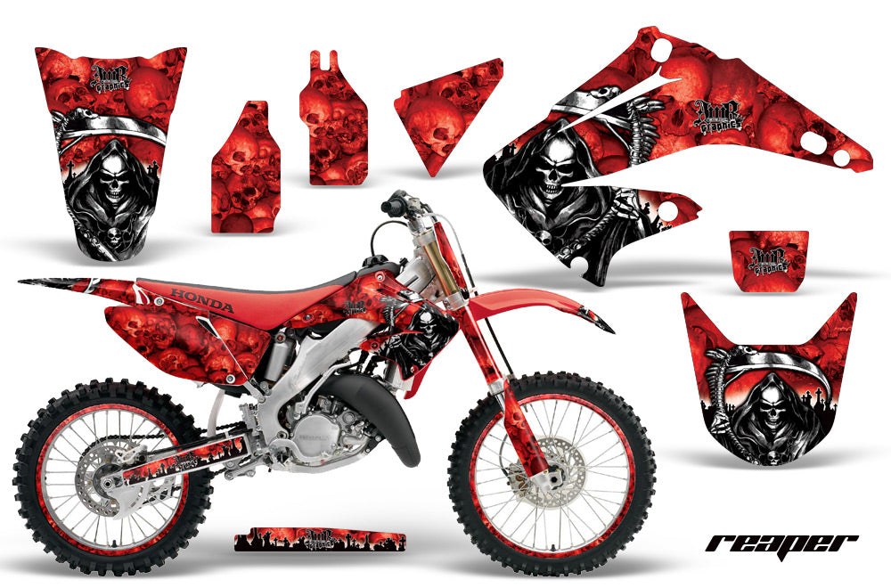Graphics Kit Decal Wrap + # Plates For Honda CR125R CR250R 2002-2008 REAPER RED-atv motorcycle utv parts accessories gear helmets jackets gloves pantsAll Terrain Depot