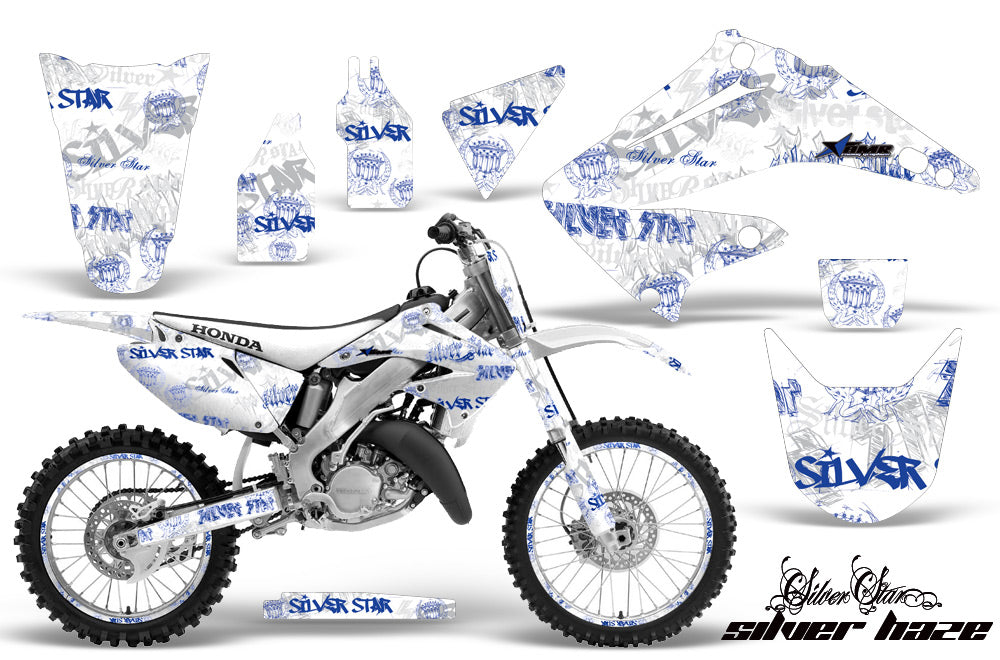 Graphics Kit Decal Wrap + # Plates For Honda CR125R CR250R 2002-2008 SSSH BLUE WHITE-atv motorcycle utv parts accessories gear helmets jackets gloves pantsAll Terrain Depot
