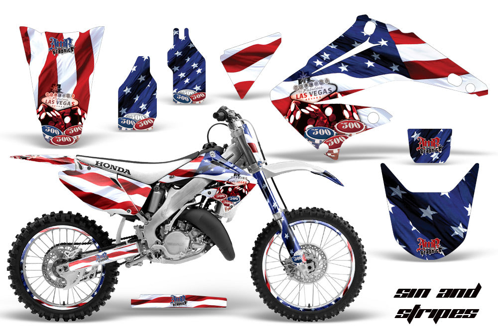 Graphics Kit Decal Wrap + # Plates For Honda CR125R CR250R 2002-2008 USA SINS-atv motorcycle utv parts accessories gear helmets jackets gloves pantsAll Terrain Depot