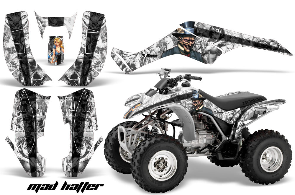 ATV Graphics Kit Quad Decal Wrap For Honda Sportrax TRX250 2002-2005 HATTER WHITE BLACK-atv motorcycle utv parts accessories gear helmets jackets gloves pantsAll Terrain Depot