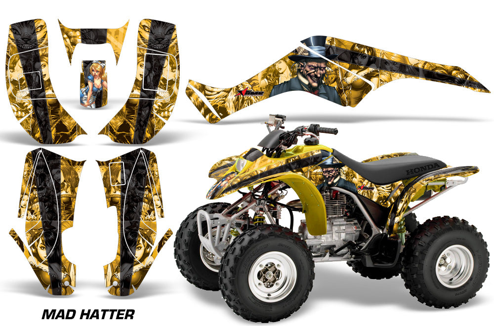 ATV Graphics Kit Quad Decal Wrap For Honda Sportrax TRX250 2002-2005 HATTER YELLOW BLACK-atv motorcycle utv parts accessories gear helmets jackets gloves pantsAll Terrain Depot