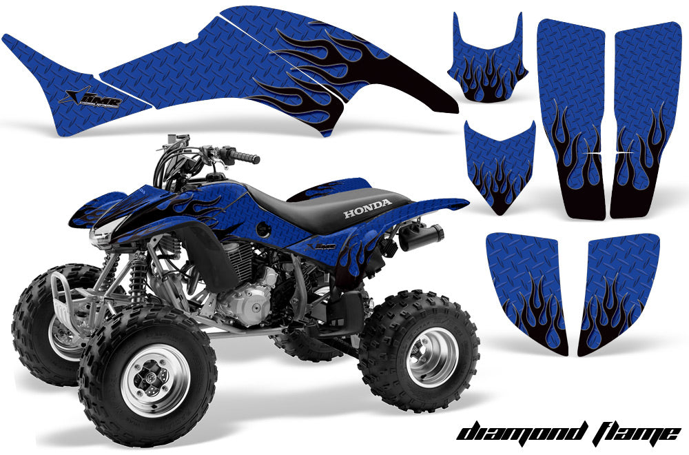 ATV Graphics Kit Decal Quad Sticker Wrap For Honda TRX400EX 1999-2007 DIAMOND FLAMES BLACK BLUE-atv motorcycle utv parts accessories gear helmets jackets gloves pantsAll Terrain Depot