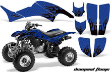 Load image into Gallery viewer, ATV Graphics Kit Decal Quad Sticker Wrap For Honda TRX400EX 1999-2007 DIAMOND FLAMES BLACK BLUE-atv motorcycle utv parts accessories gear helmets jackets gloves pantsAll Terrain Depot