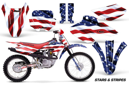 Dirt Bike Graphics Kit Decal Wrap For Honda XR80R XR100R 2001-2003 USA FLAG