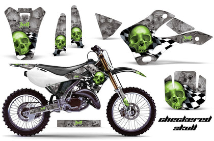 Dirt Bike Graphics Kit Decal Wrap For Kawasaki KX125 KX250 1999-2002 CHECKERED GREEN