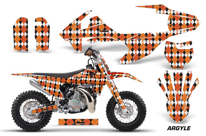 Dirt Bike Decal Graphics Kit Sticker Wrap For KTM SX50 SX 50 2016-2018 ARGYLE ORANGE