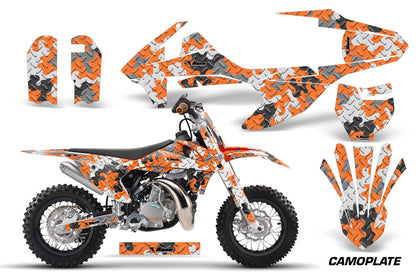 Dirt Bike Decal Graphics Kit Sticker Wrap For KTM SX50 SX 50 2016-2018 CAMOPLATE ORANGE