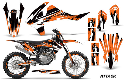 GraphicS Kit Decal Wrap + # Plates For KTM SX SXF XCF 250/350/450 2016+ ATTACK ORANGE