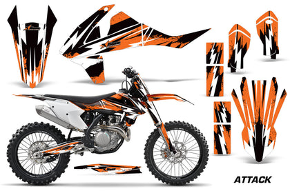 Dirt Bike Decal Graphic Kit Wrap For KTM SX SXF XCF 250/350/450 2016+ ATTACK ORANGE