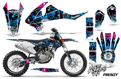 Dirt Bike Decal Graphic Kit Wrap For KTM SX SXF XCF 250/350/450 2016+ FRENZY BLUE