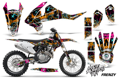 Dirt Bike Decal Graphic Kit Wrap For KTM SX SXF XCF 250/350/450 2016+ FRENZY ORANGE