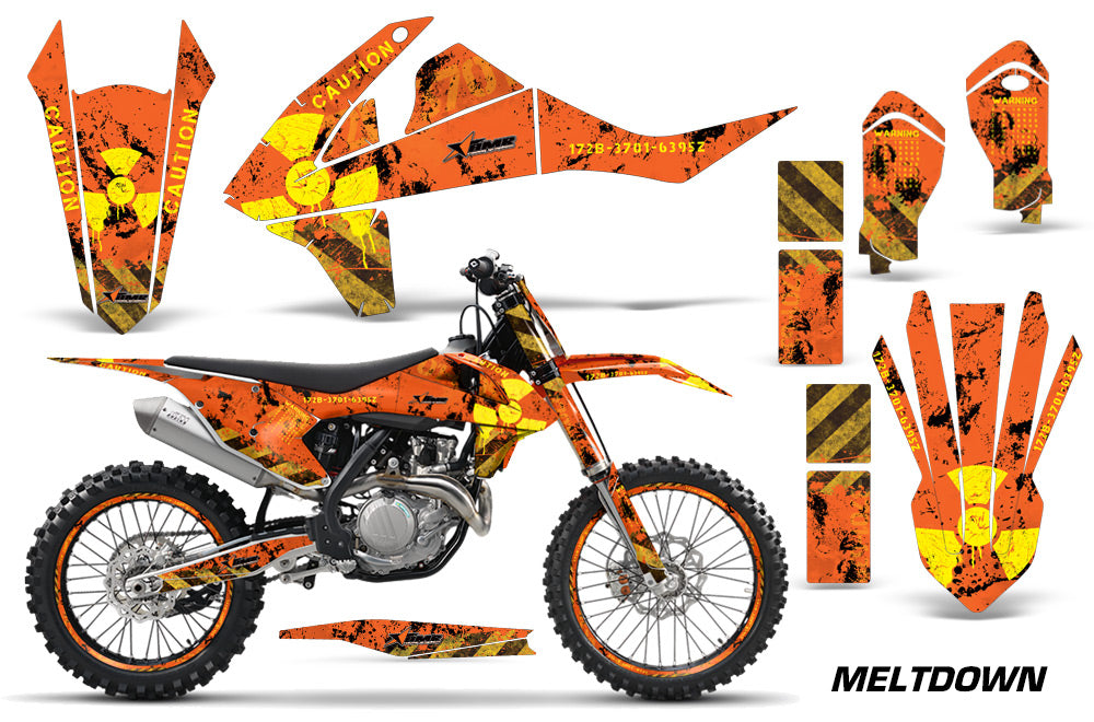 GraphicS Kit Decal Wrap + # Plates For KTM SX SXF XCF 250/350/450 2016+ MELTDOWN YELLOW ORANGE-atv motorcycle utv parts accessories gear helmets jackets gloves pantsAll Terrain Depot