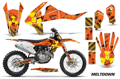 Dirt Bike Decal Graphic Kit Wrap For KTM SX SXF XCF 250/350/450 2016+ MELTDOWN YELLOW ORANGE