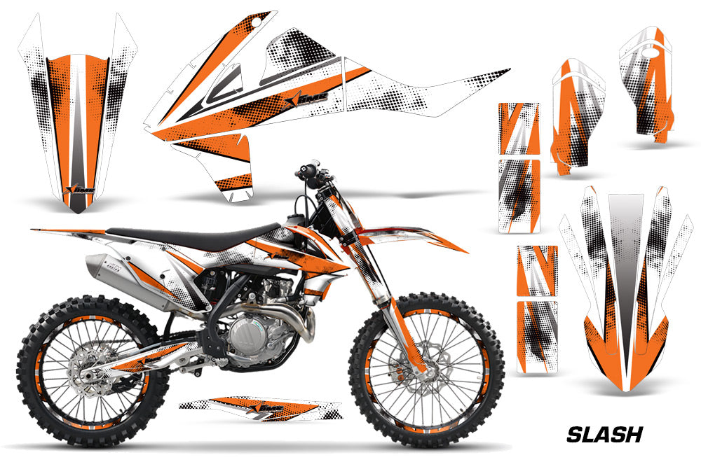 GraphicS Kit Decal Wrap + # Plates For KTM SX SXF XCF 250/350/450 2016+ SLASH ORANGE