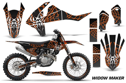 GraphicS Kit Decal Wrap + # Plates For KTM SX SXF XCF 250/350/450 2016+ WIDOW ORANGE BLACK