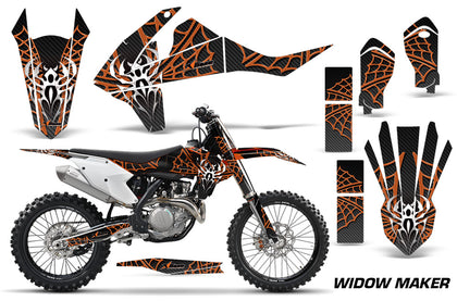 Dirt Bike Decal Graphic Kit Wrap For KTM SX SXF XCF 250/350/450 2016+ WIDOW ORANGE BLACK