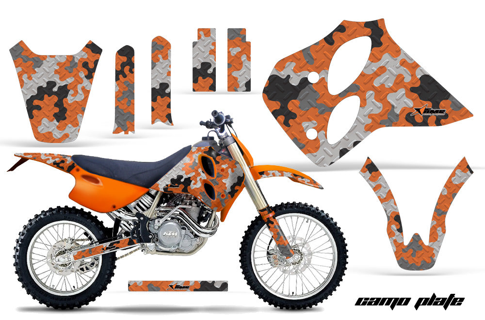 Dirt Bike Graphics Kit Decal Sticker Wrap For KTM SX/XC/EXC/LC4 1993-1997 CAMOPLATE ORANGE
