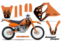 Dirt Bike Graphics Kit Decal Sticker Wrap For KTM SX/XC/EXC/LC4 1993-1997 DIAMOND FLAMES BLACK ORANGE