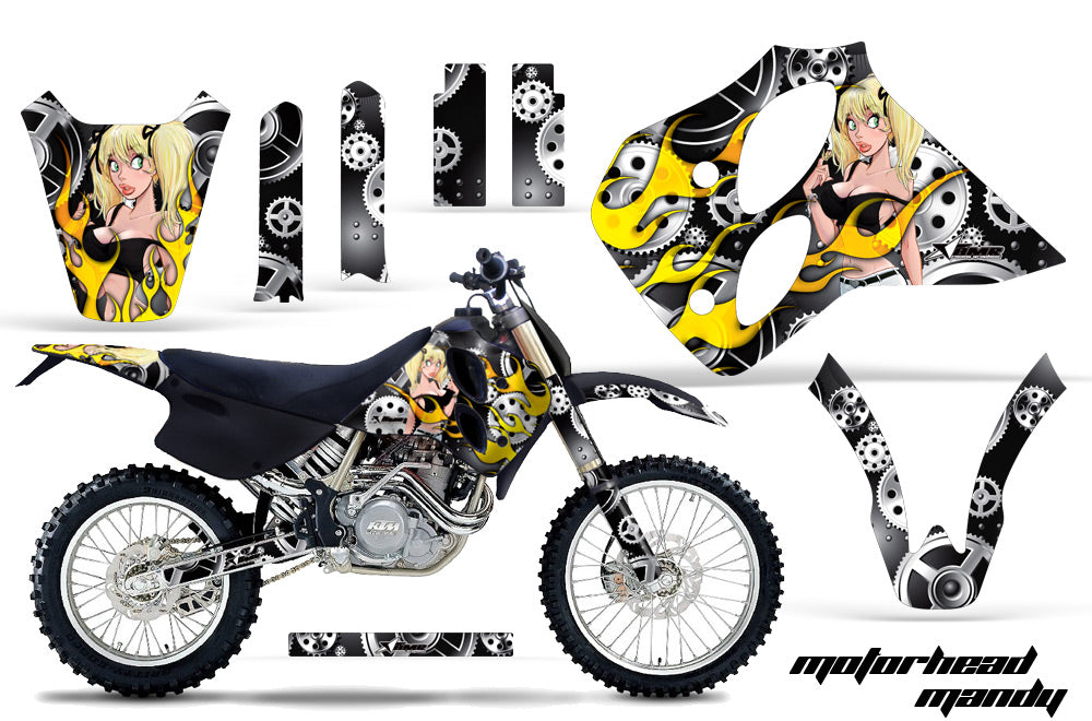 Dirt Bike Graphics Kit Decal Sticker Wrap For KTM SX/XC/EXC/LC4 1993-1997 MOTO MANDY BLACK