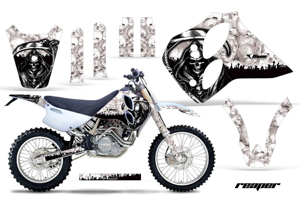 Dirt Bike Graphics Kit Decal Sticker Wrap For KTM SX/XC/EXC/LC4 1993-1997 REAPER WHITE