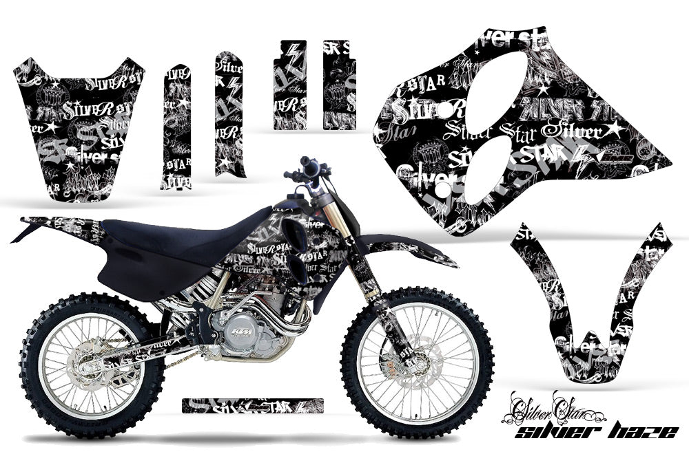 Dirt Bike Graphics Kit Decal Sticker Wrap For KTM SX/XC/EXC/LC4 1993-1997 SSSH WHITE BLACK