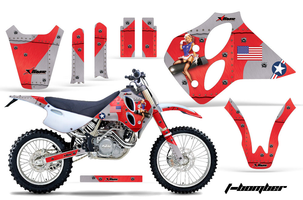 Dirt Bike Graphics Kit Decal Sticker Wrap For KTM SX/XC/EXC/LC4 1993-1997 TBOMBER RED